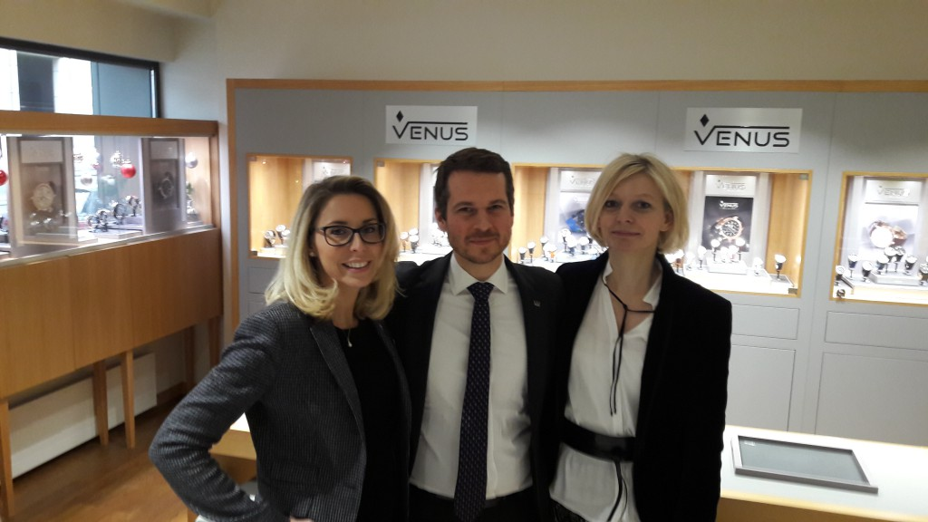 from right to left: Marie-Cécile Boulard, Montres Venus S.A., Senior Headquarter and Boutique Director Nicolas CHATELLAIN, Warwick Geneva, Sales and Marketing Director Raffaella BASTIANINI, Warwick Geneva, Front Office Manager
